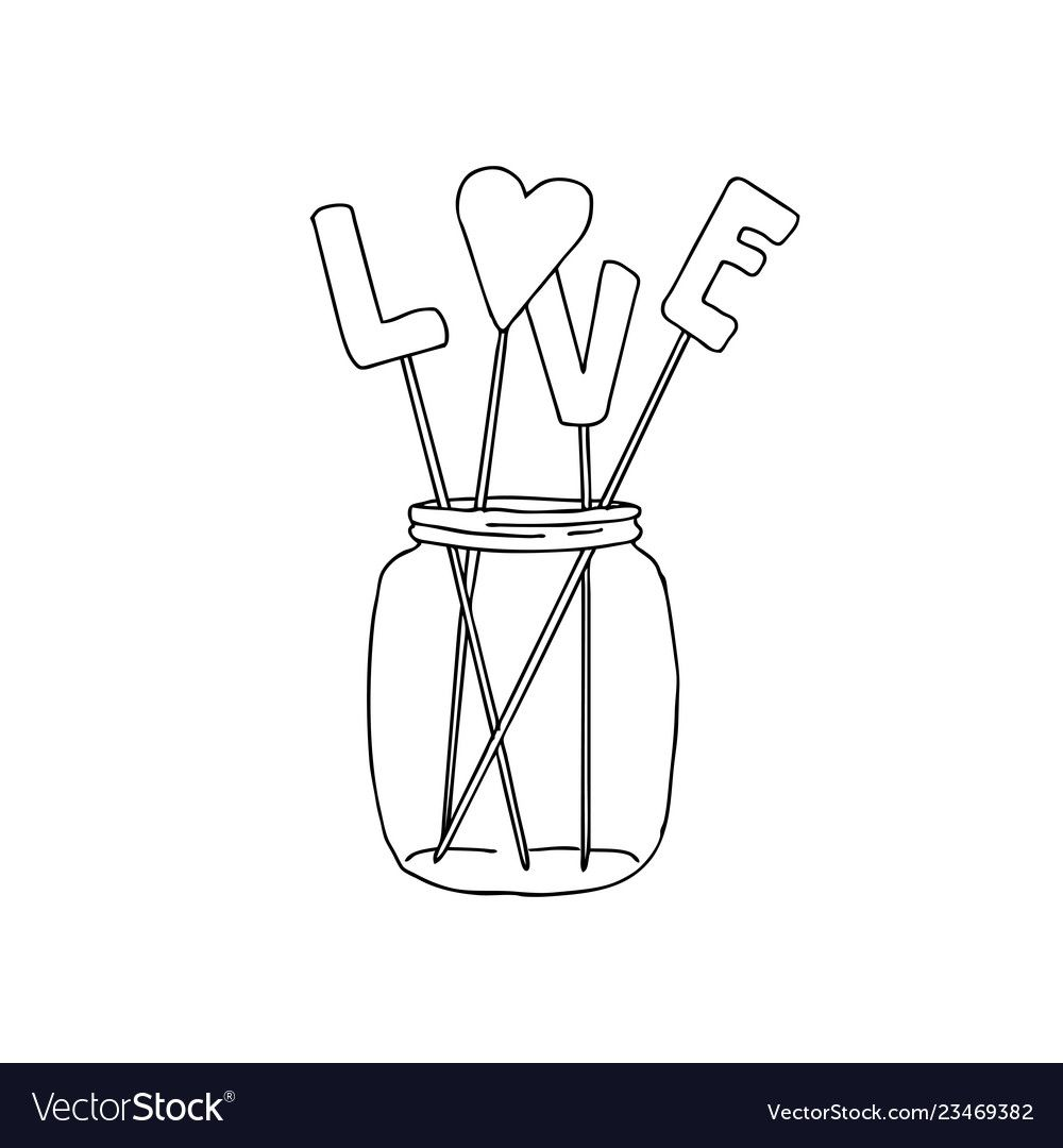 Hand Drawn Of A Mason Jar With Vector Image On