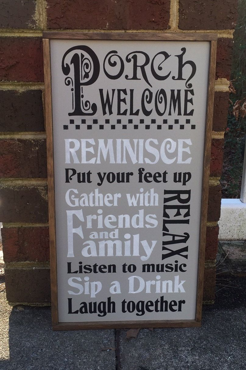 Country Porch Signs Porch Decor Porch Welcome Sign Light Gray