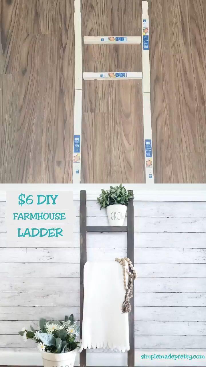 DIY Dollar Store Farmhouse Ladder | Diy ladder, Dollar tree decor