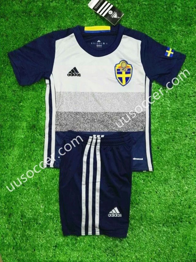 afa343e73 2016 European Cup Sweden Away Grey Kits Youth Soccer Uniform