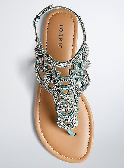 dfb840ab4 All Over Gemstone T-Strap Sandals (Wide Width)All Over Gemstone T-Strap  Sandals (Wide Width)
