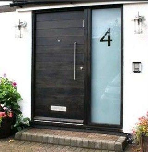 Black Wooden Front Door With An Etched Glass Sidelight Modern Exterior Doors Contemporary Front Doors Modern Front Door