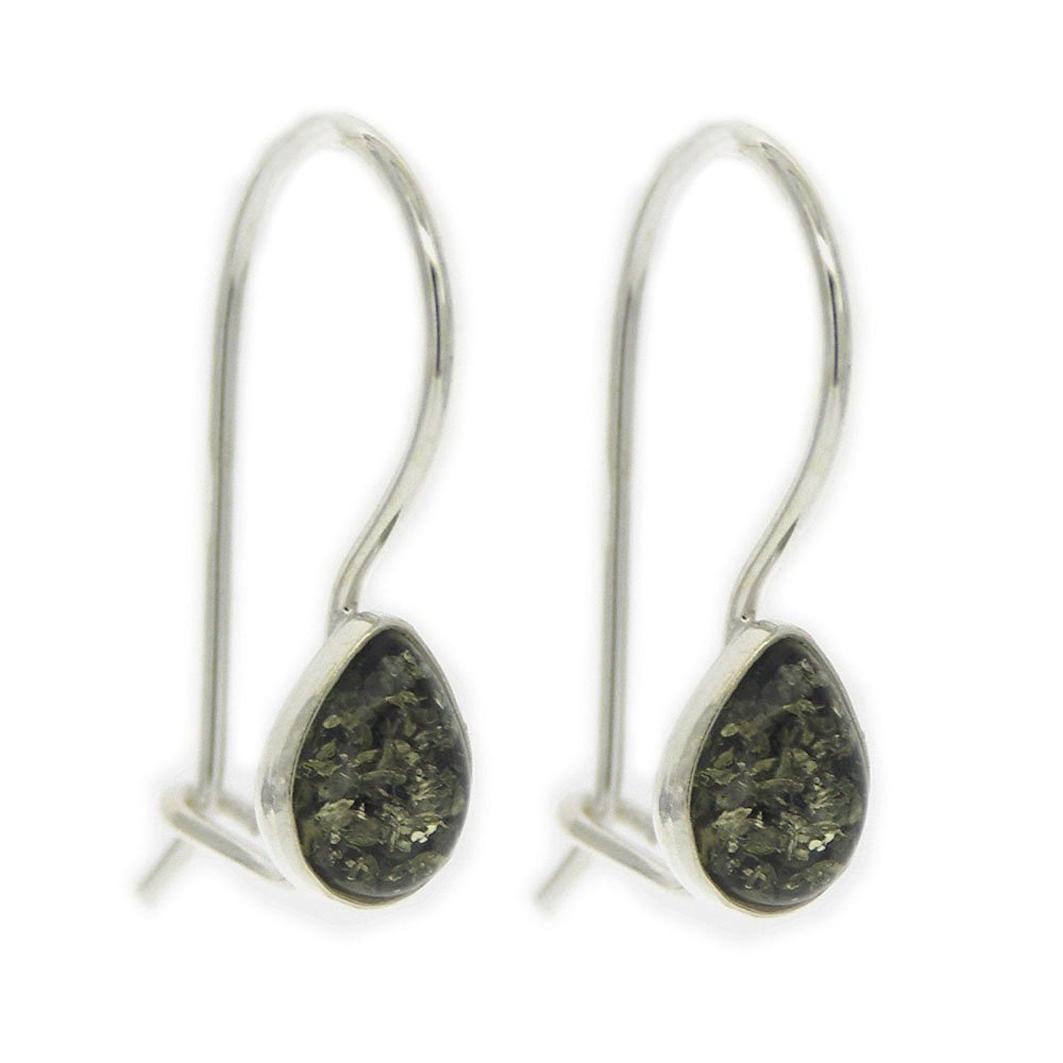 Classic Amber Sterling Silver and Diamond Shaped Green Amber Drop Earrings with Fixed Hook and Safety Catch J4NrWgV2Os