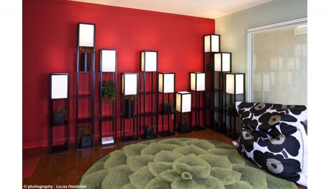 Modern Living Room Red wall in living room color theme with modern style - lotus