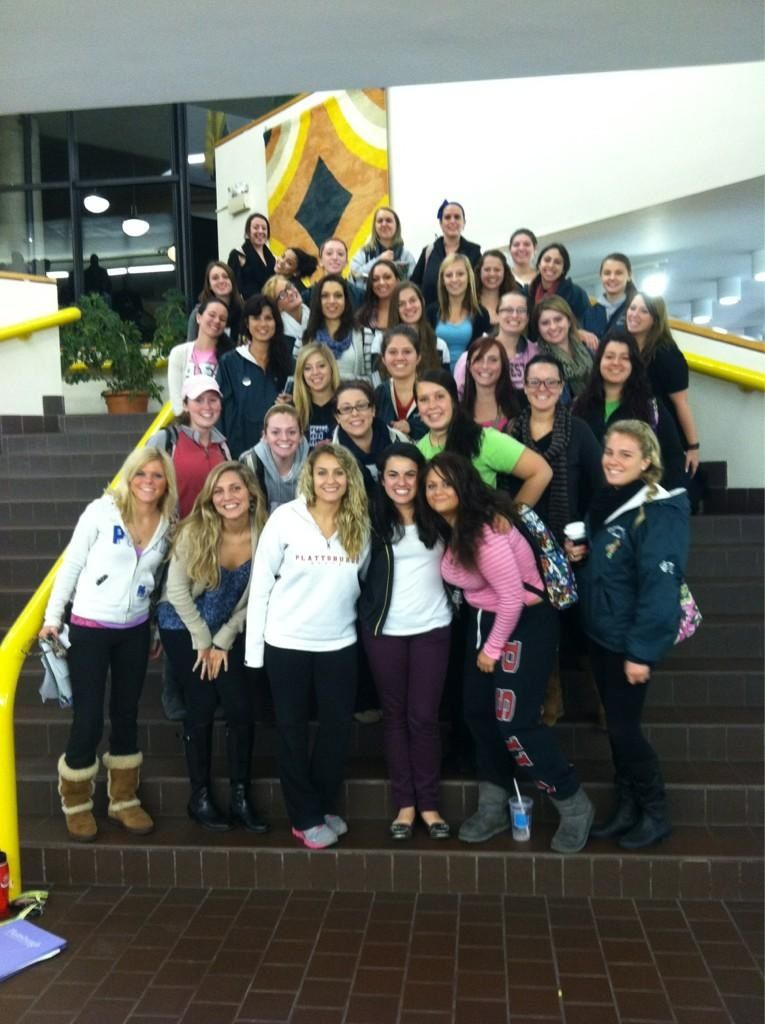 Talia Fishbon, Alpha Epsilon Phi Traveling Educational Consultant, gets a warm welcome from the SUNY Plattsburgh chapter