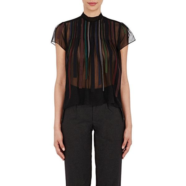 Kolor Pintuck-Pleated Chiffon Blouse ($385) ❤ liked on Polyvore featuring tops, blouses, black, pintuck blouse, black chiffon blouse, black turtleneck, black short sleeve turtleneck and button blouse