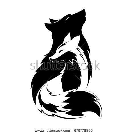 Fox And Wolf Silhouette Dibujos Tribales Tatuajes De Lobos Arte Animales Peludos