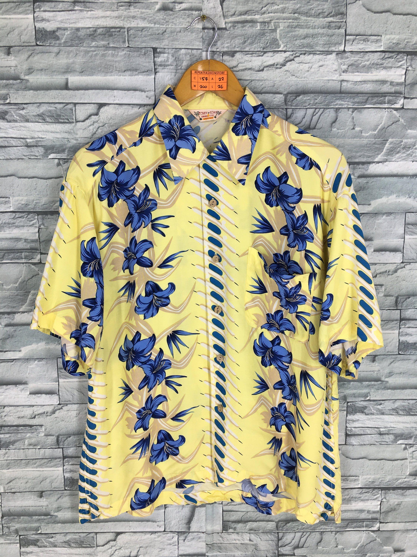9c4b63593 Aloha Floral Shirt Medium Vintage 80's Hawaiian Tropical Floral Hibiscus  Flower Rockabilly Hawaiian Beach Surf Rayon Yellow Shirt Size M by ...