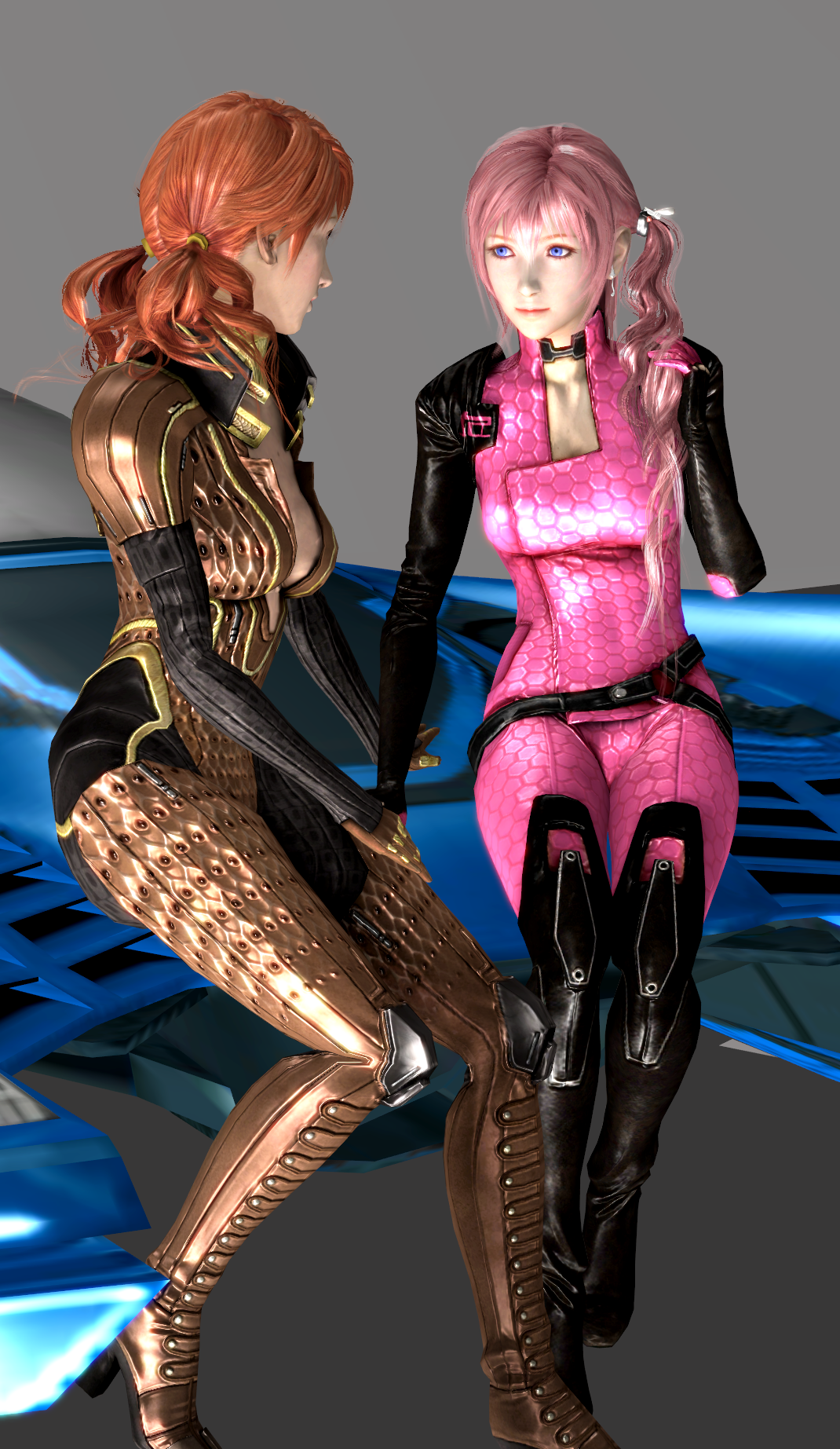 Serah and vanille Mass Effect Suit xps render by takebon999 on deviantART