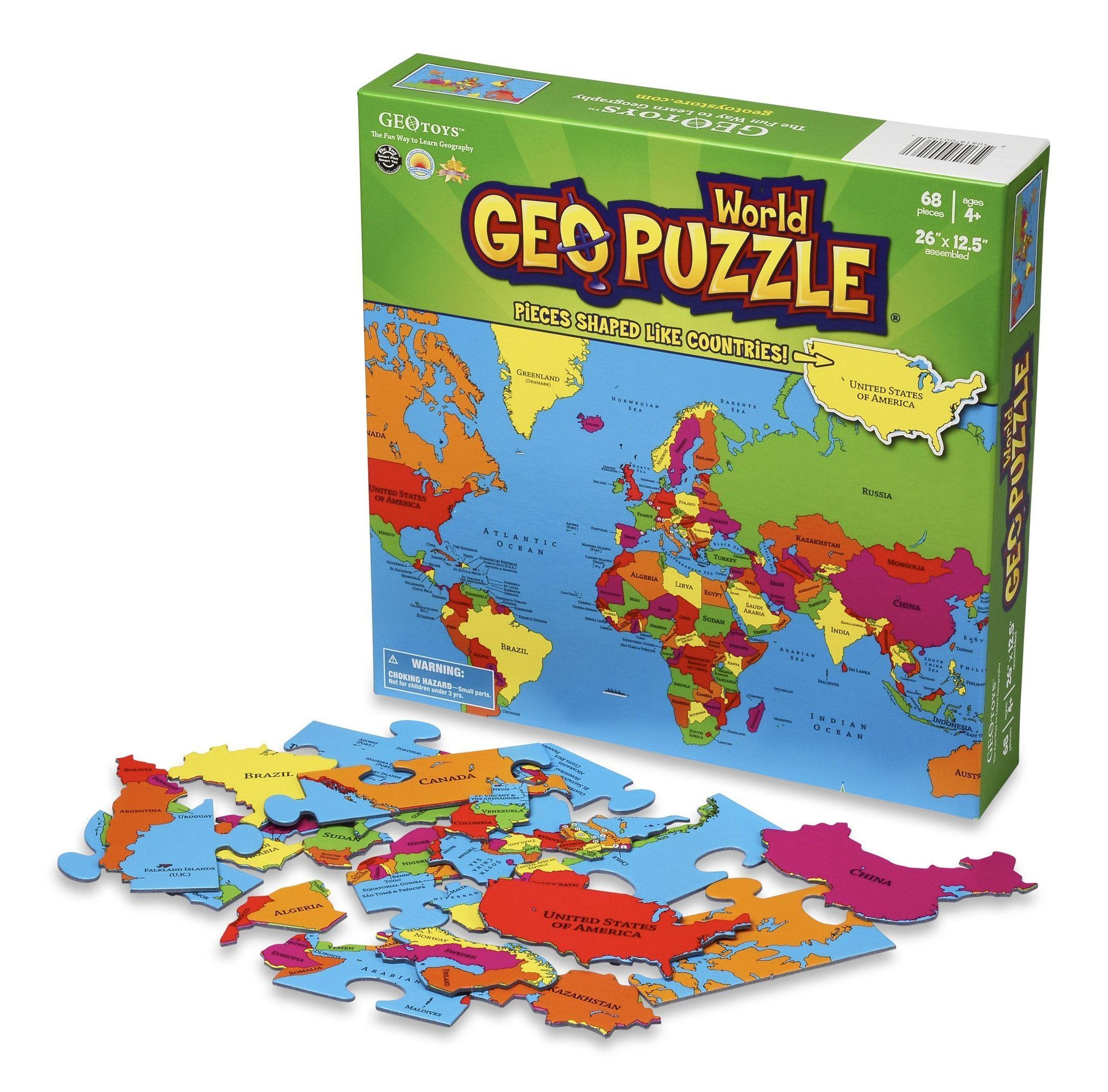 GeoToys GeoPuzzle World my kids love these on rainy days