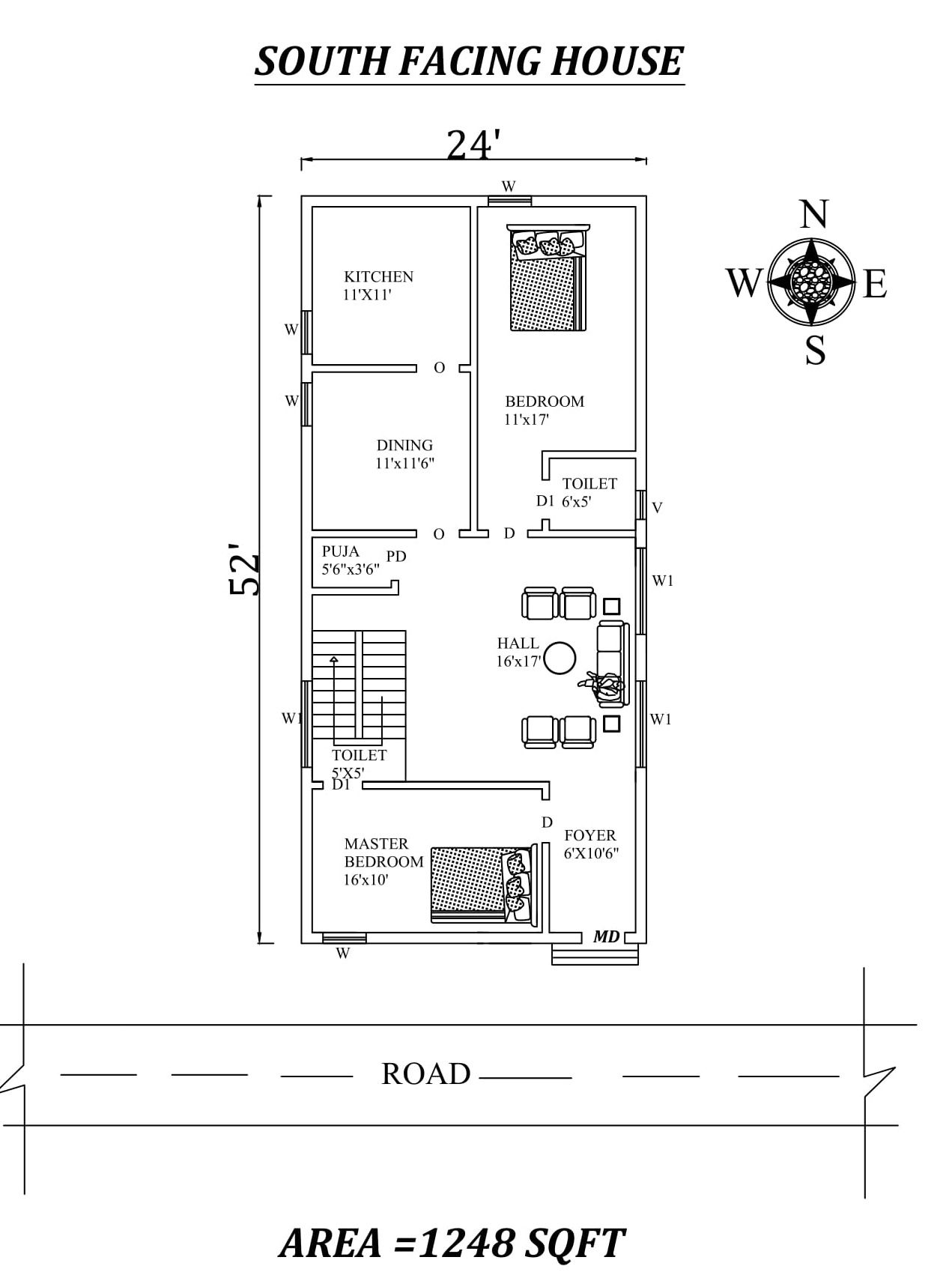 24 X 52 2bhk Awesome Furnished South Facing House Plan As Per Vastu Shastra Autocad Dwg And Pdf South Facing House House Plans Little House Plans