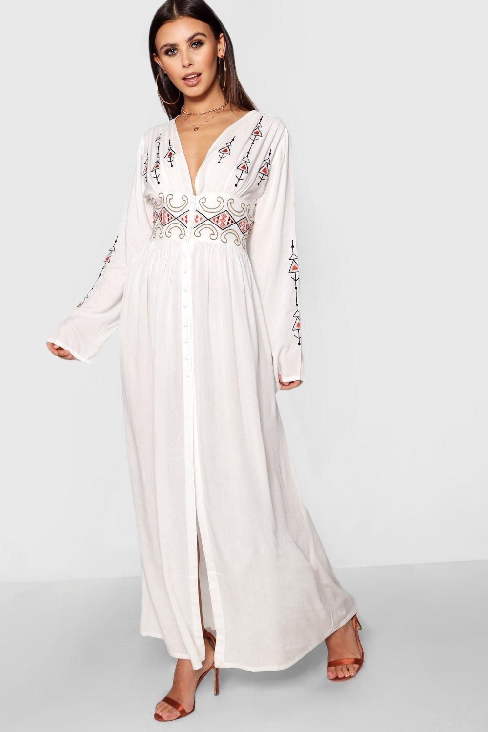 9da81d83cb Click here to find out about the Petite Alice Embroidered Button Front Maxi  Dress from Boohoo