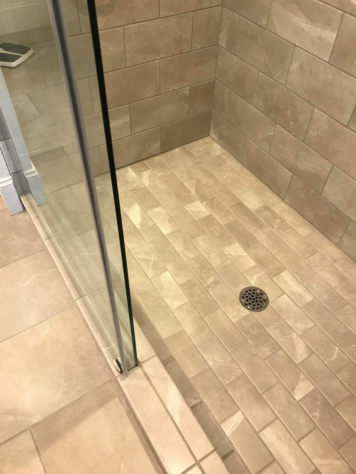 Master Shower With 3x6 Tiles On Shower Floor B F Ceramics