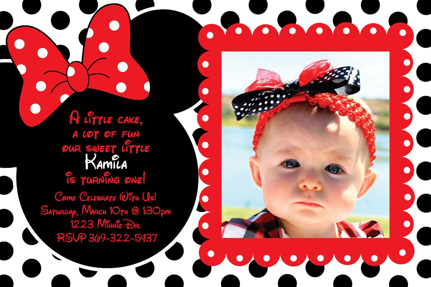 Custom Red and Black Polka Dot Minnie Mouse Invitation OR Thank You ...