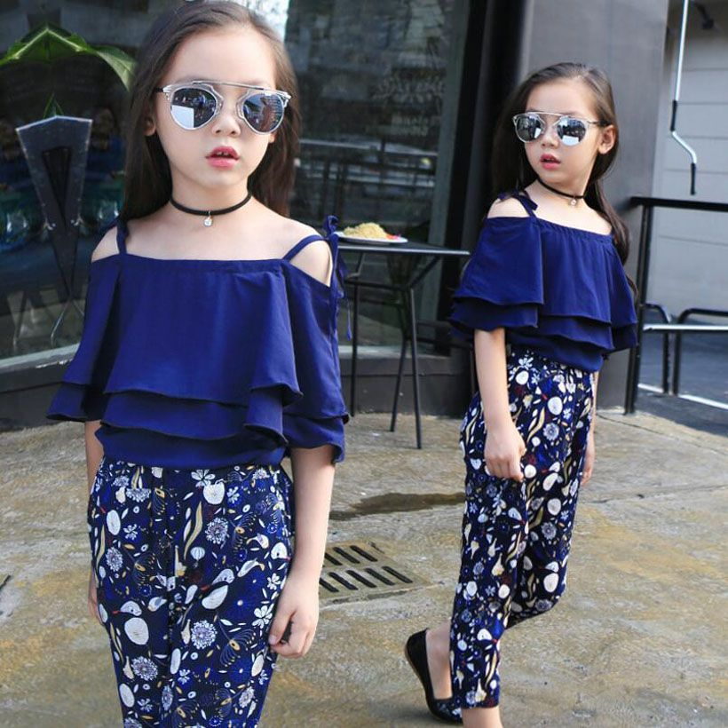 Girls Summer Set Floral Girls Outfits Shirt+Short Pants 2PCS Teenage Girls Clothing