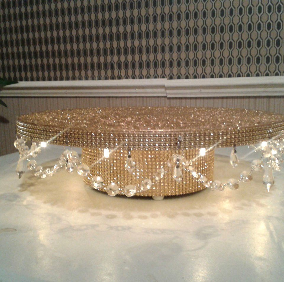 Diamante crystal garland light up wedding cake stand pedestal gold
