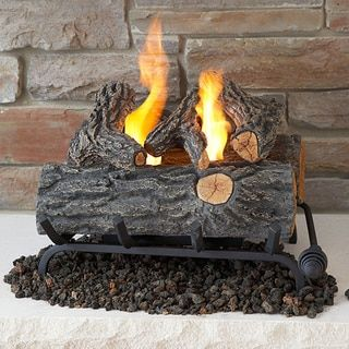real flame 18inch log set 18 set black wood fireplace