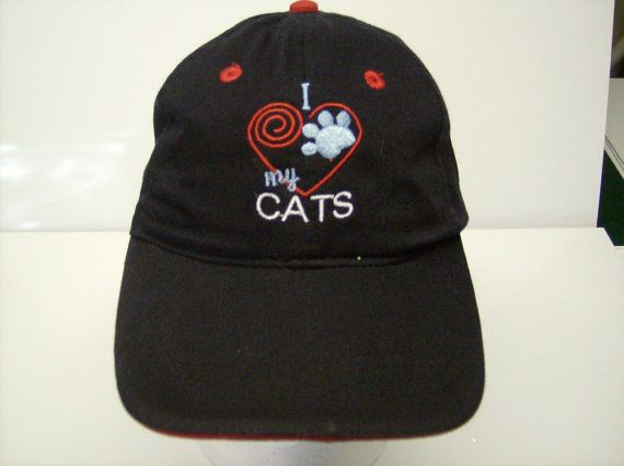 New I LOVE MY CATS Embroidered Cap Hat Black by http://CowgirlsLoft.com