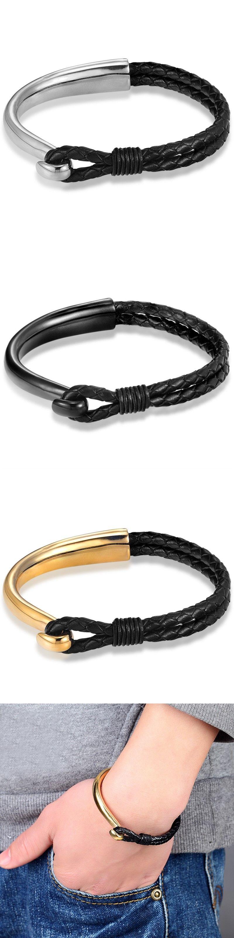 Janeyacy hot fashion men bracelet leather rope chain bracelets
