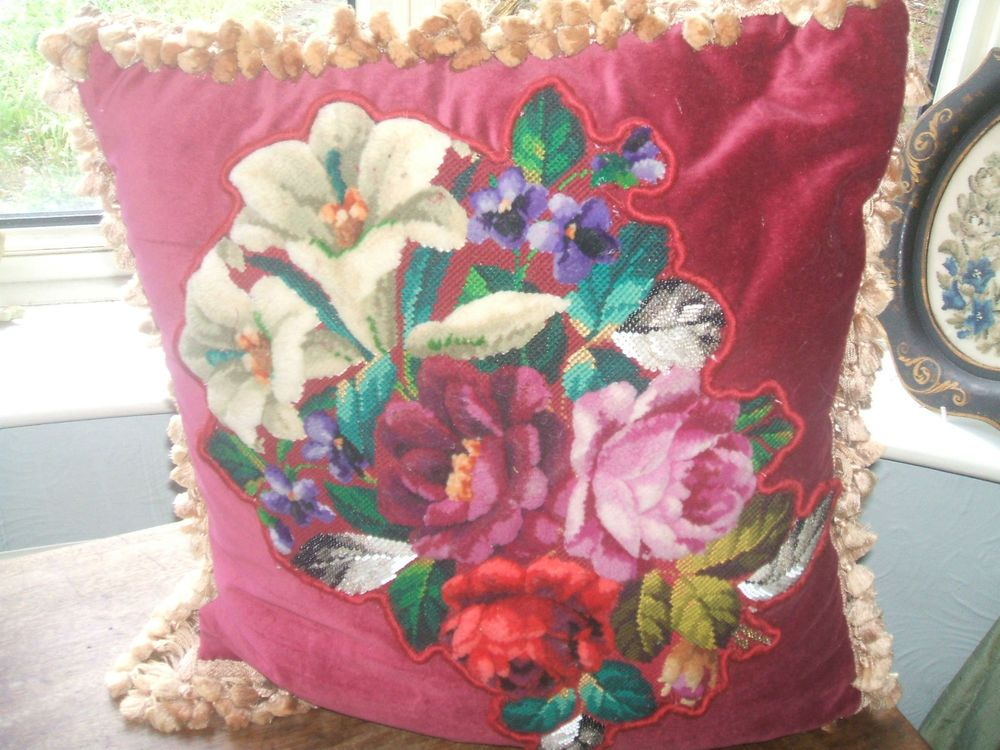 Victorian plush work and beaded flower cushion