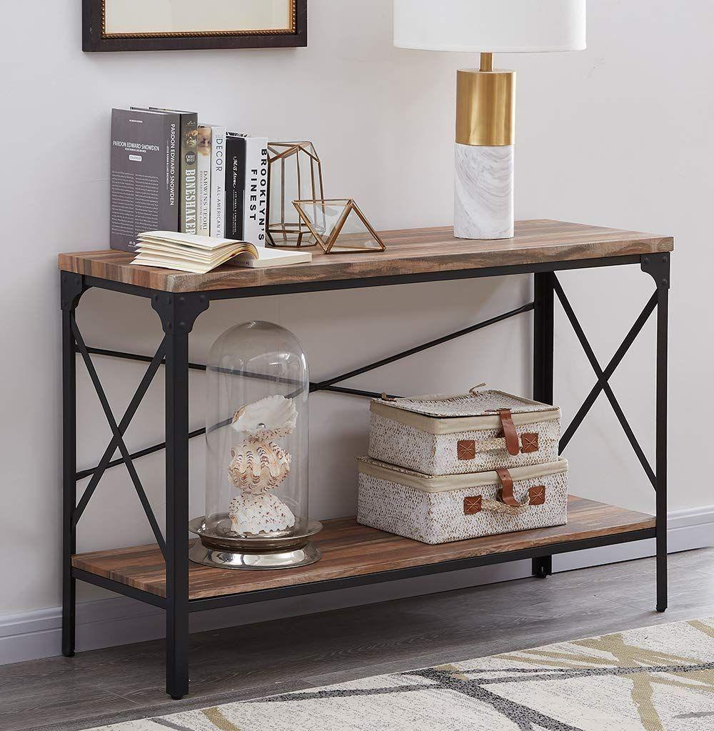 Amazon Com Homissue 2 Shelf Industrial Vintage Hall Sofa Table