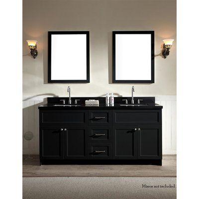 Winston Porter Westman 73 Double Bathroom Vanity Set Black Granite Countertops Double Sink Vanity Bathroom Sink Vanity