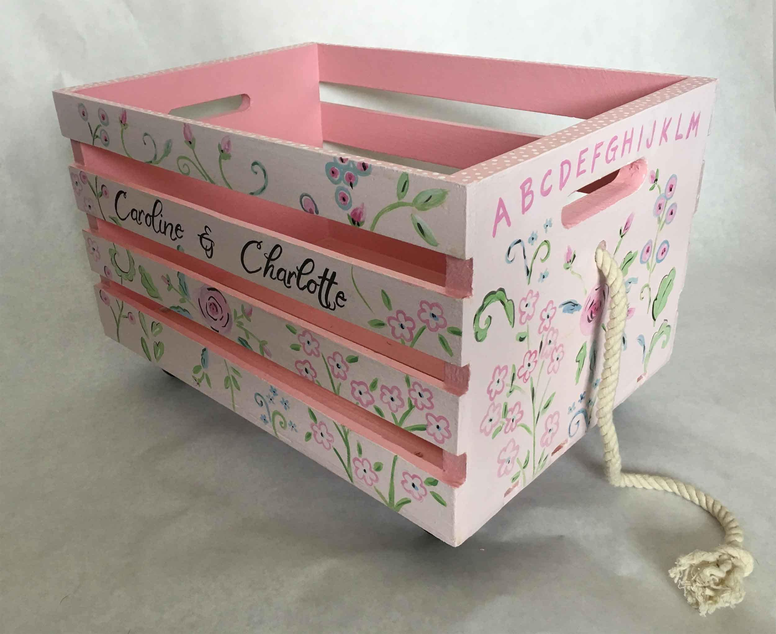 Pink Storage Bins Girls Flower Drawers Chest Dresser: Pink Flower Crate Toy Box, Crate Book Box, Kids Crate Toy