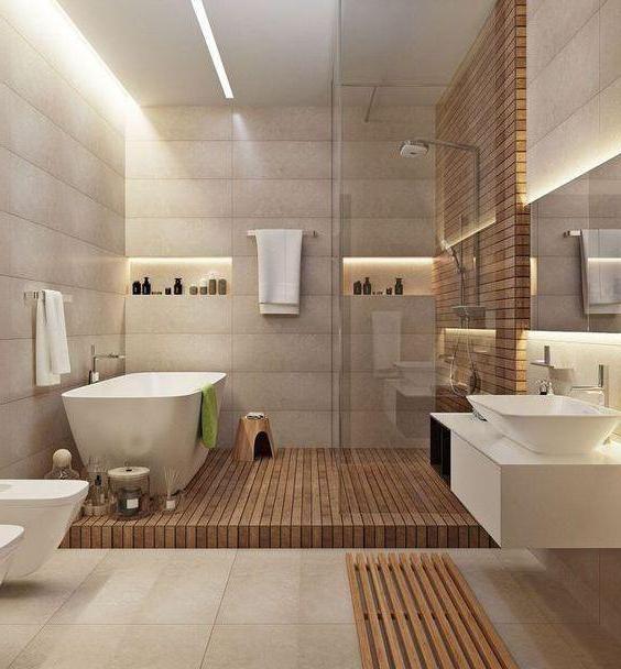 Бежевая ванная комната: фото дизайна ванной комнаты