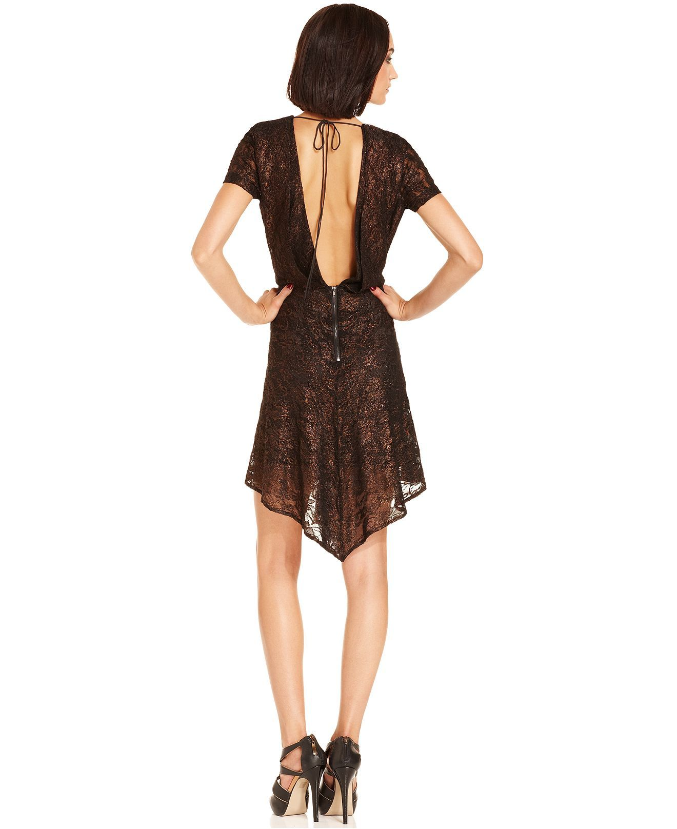 W118 Dress, Adele Short-Sleeve High-Neck Sequined Collar Lace - Womens Dresses - Macy's