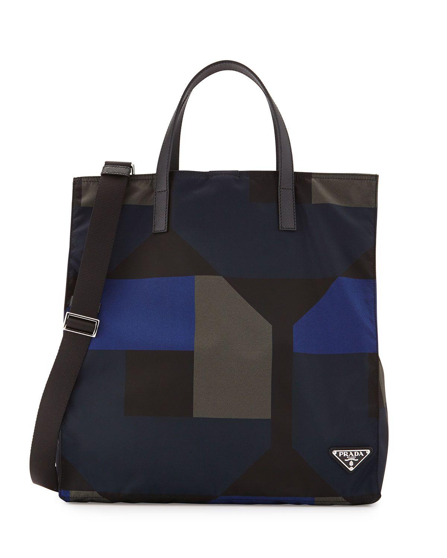 739cb548438d Men's Printed Nylon Tote Bag Black/Blue | *Neiman Marcus* | Nylon ...
