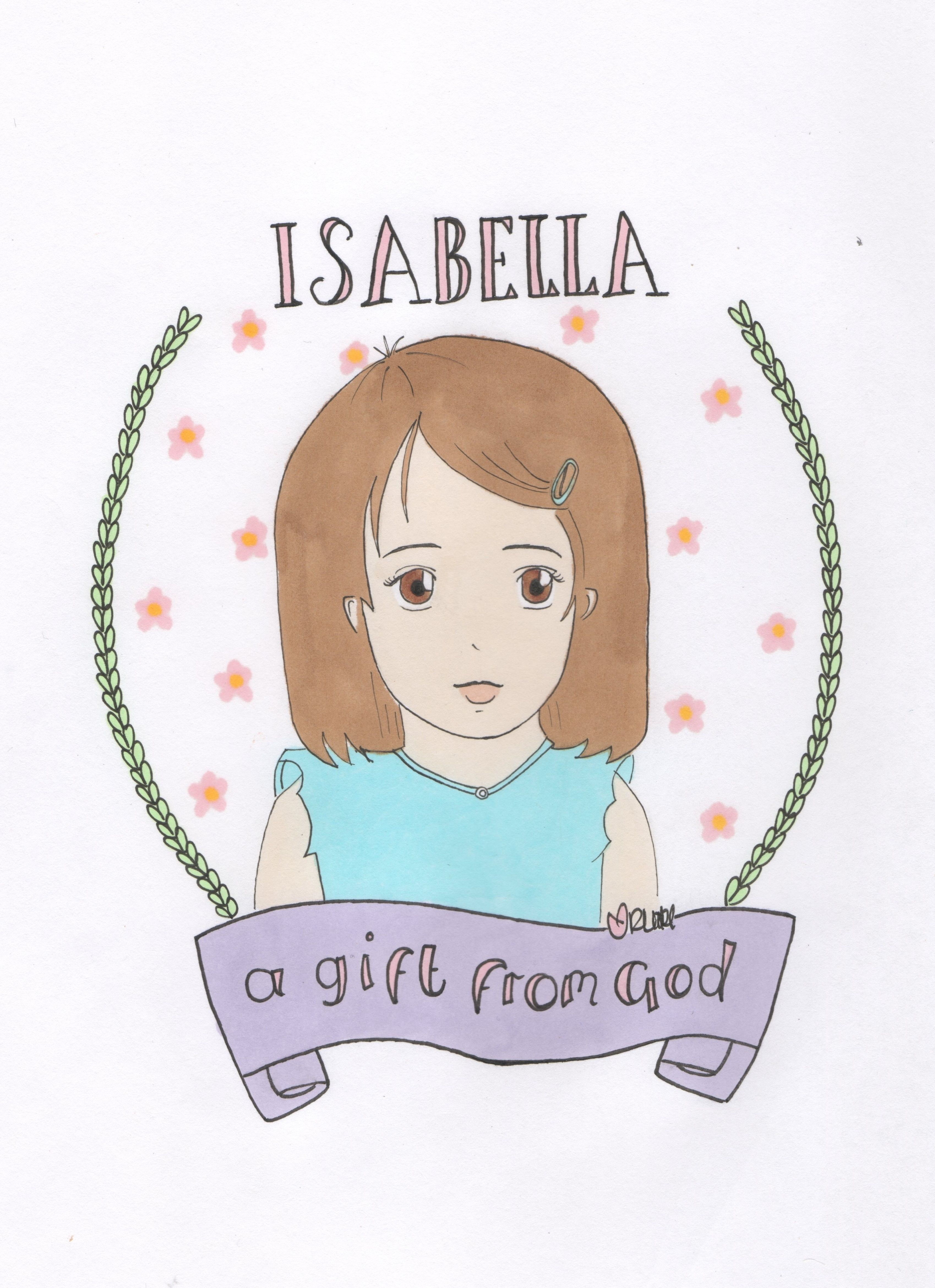 Name meaning portrait by Sakura Kids. 'Isabella - a gift ...