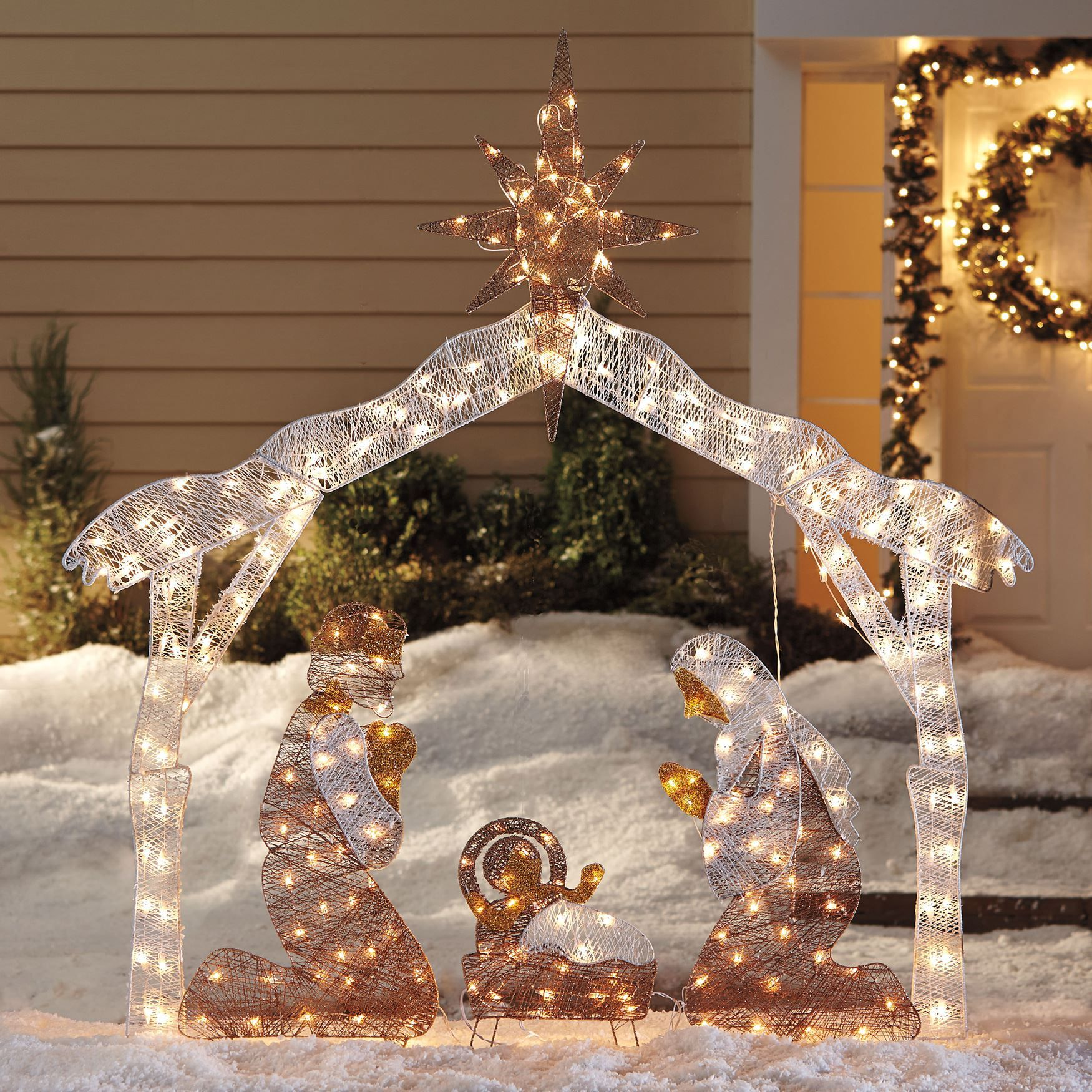 Our stunning outdoor nativity set expresses the true joy of shop for crystal splendor outdoor nativity scene and more outdoor christmas lighted decorations on brylanehome mozeypictures Choice Image