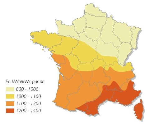 carte ensoleillement panneau solaire photovoltaique Bonnes idées