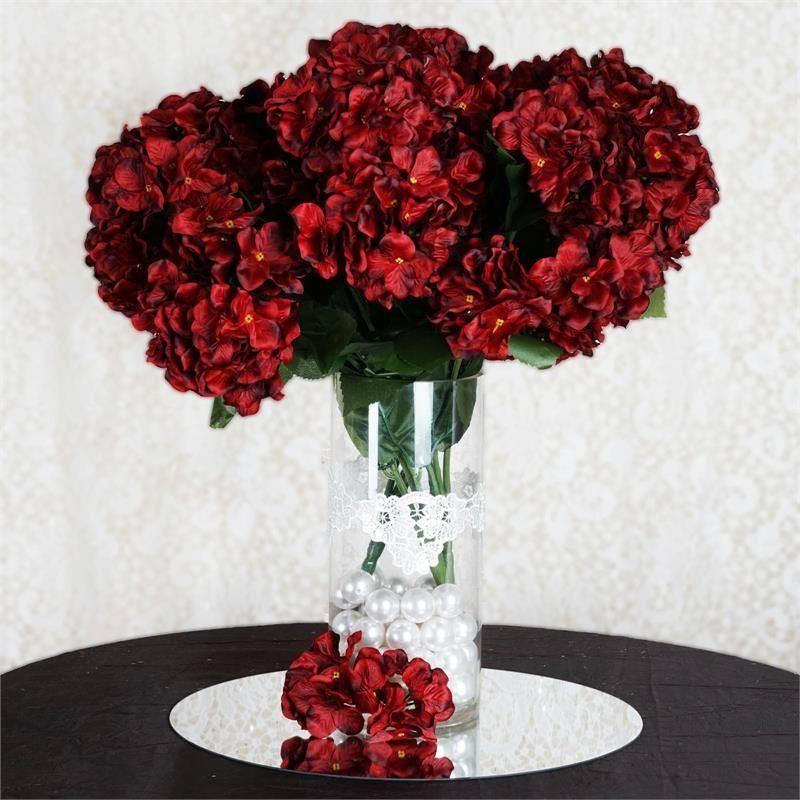 Artificial hydrangea bush blackred artificial hydrangeas and balsacircle 28 silk hydrangea wedding flowers black and red mightylinksfo
