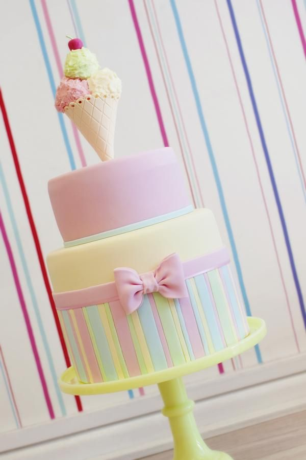 Ice cream birthday party ideas - two tier cake #birthday #kids #icecream