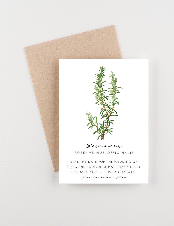 Botanical Save The Date Wedding Announcement Botanical Illustration