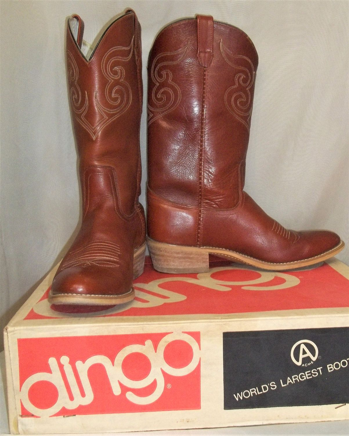 c38815e35d1 Vintage Acme/Dingo Men's Cowboy Western Leather Boots Size 10 1/2 D ...