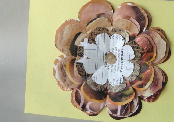 Upcycled Greeting Card  Peach and Brown Flower by DeepBlueNotion, $4.50
