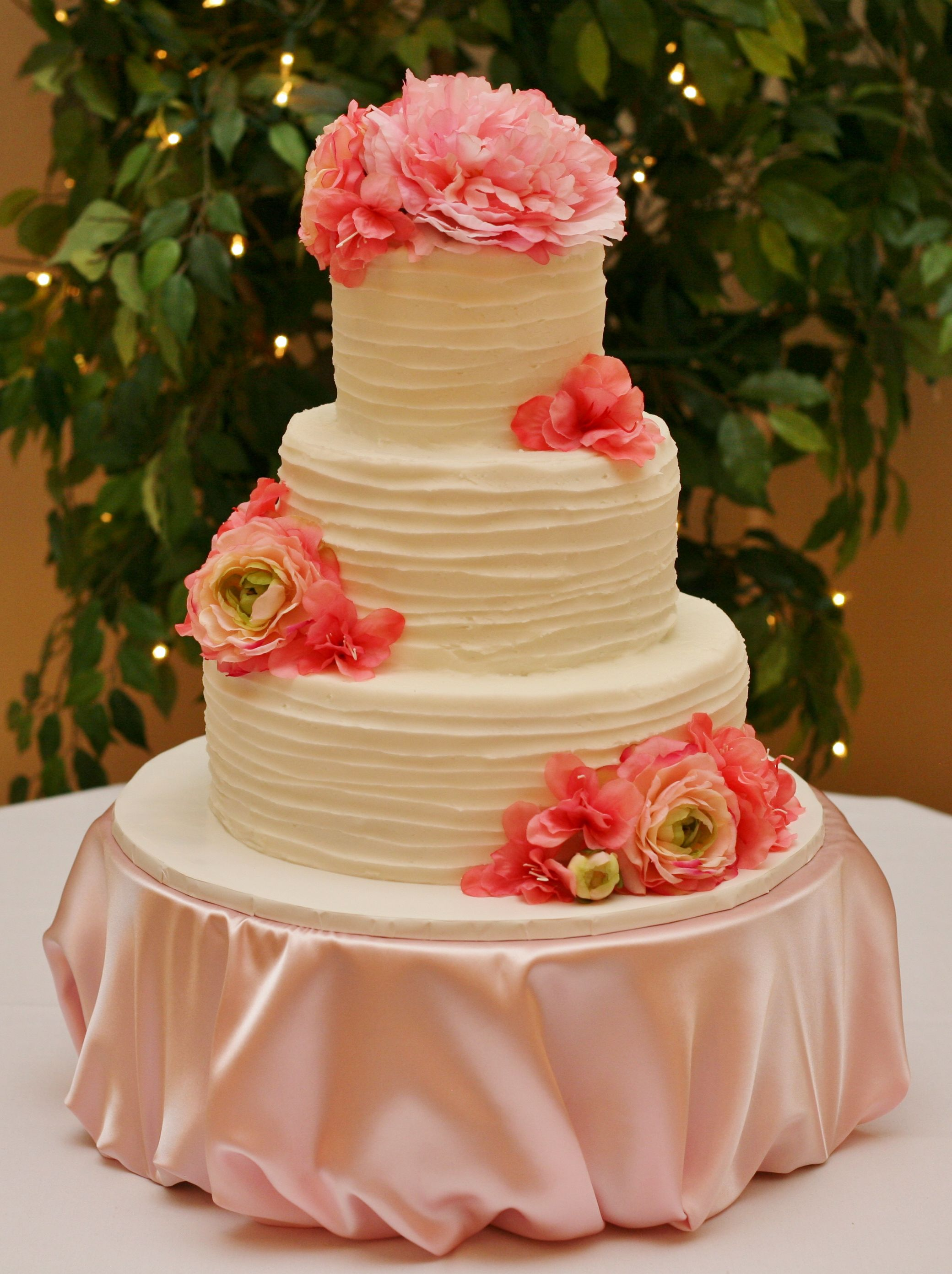 Textured White Buttercream And Pink Flowers Wedding Cake Www