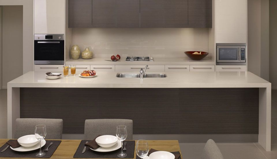 how amazing does this 39 shades in grey 39 style kitchen with the caesarstone countertops in linen. Black Bedroom Furniture Sets. Home Design Ideas