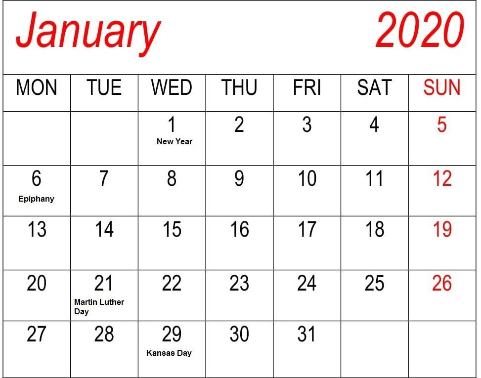 List Of January Holidays 2020 Calendar Usa Uk Canada January