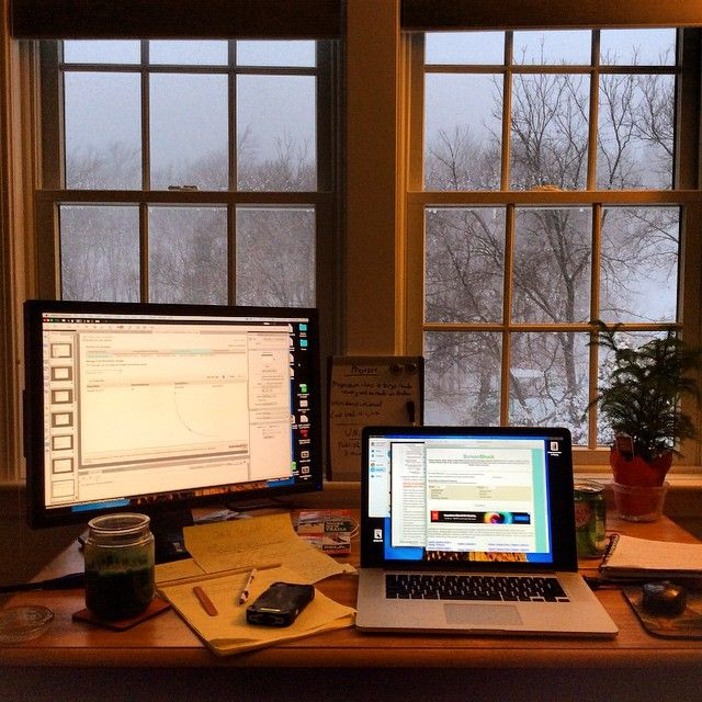 """""""No snow day for those who work virtually. At least we can make our space as cozy as we want and have unlimited cocoa breaks. #MyDeskToday #TrainYourCloud #snowday"""" Photo taken by @smartermediumllc on Instagram, pinned via the InstaPin iOS App! http://www.instapinapp.com (02/02/2015)"""