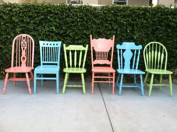 Dining Chairs Vintage Set Of 6 Custom Colors Mix And
