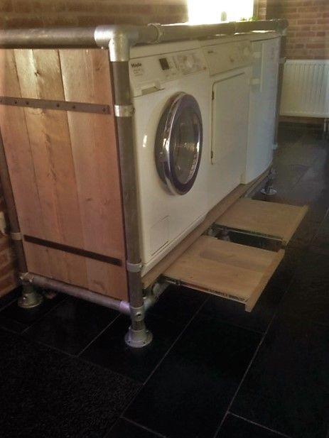 Kast Wasmachine Gemaakt Van Steigerbuis En Buiskoppelingen