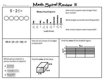 Math Staar Spiral Review 5th Grade Math Spiral Review Spiral Review Math Review Worksheets