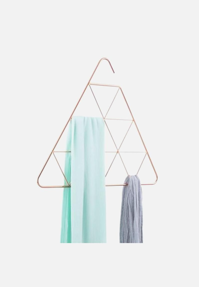 Bring playful, modern shapes into your closet in sophisticated jewelry-like finishes. This decorative scarf and accessory hanger uses its geometric patterns to create openings for storage, and also provide visual interest when not in use.