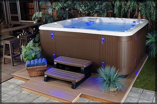 Aqua Blue Pool And Spa Hot Tub Backyard Hot Tub Privacy Hot Tub Landscaping