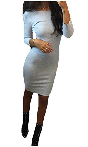 fd5dd2e44d38 XiaoTianXin-women clothes XTX Women Long Sleeve Backless Autumn Slim Fit  Solid Bodycon Dress