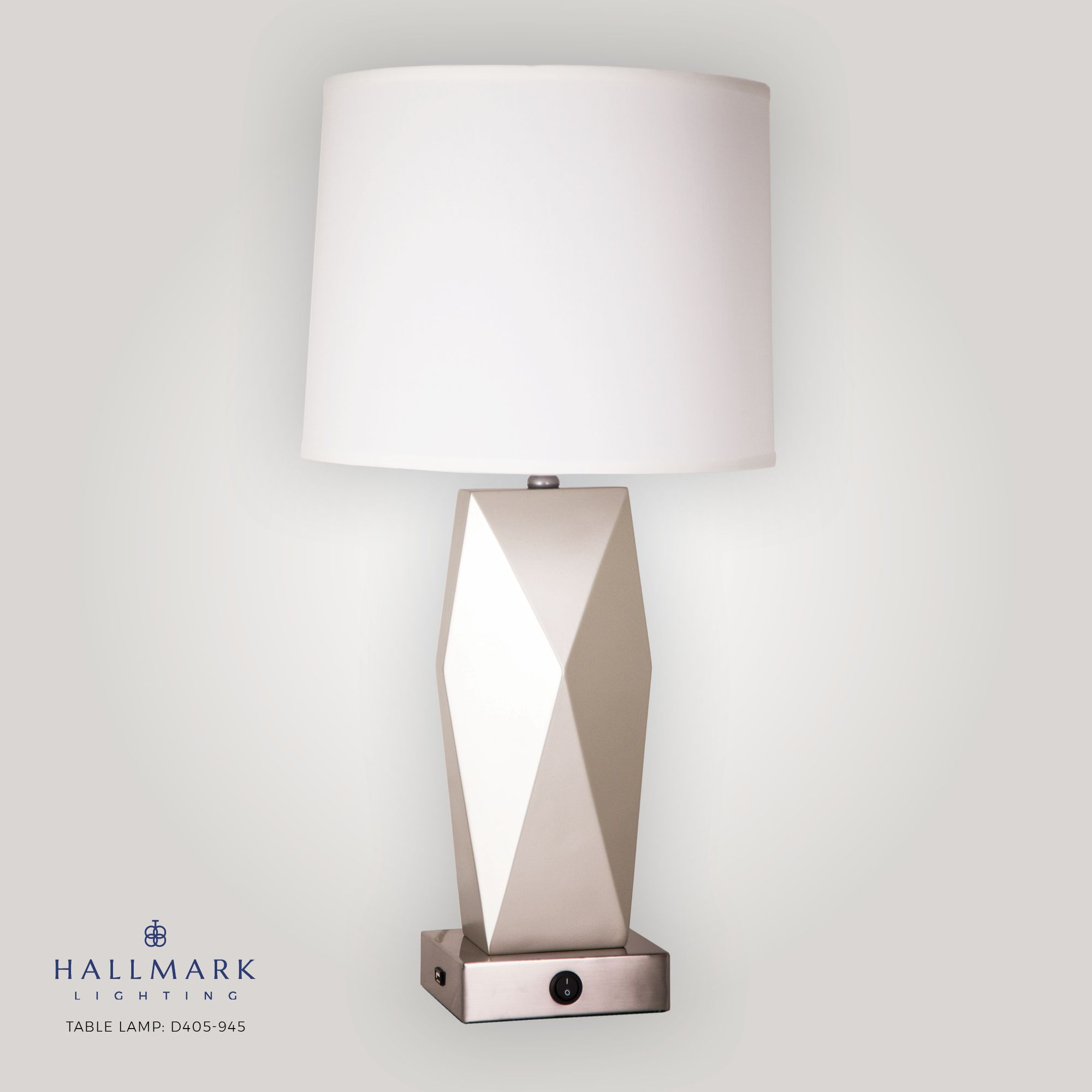 Table Lamp D405 945 Finishes Painted Oil Nickel Shade Off White