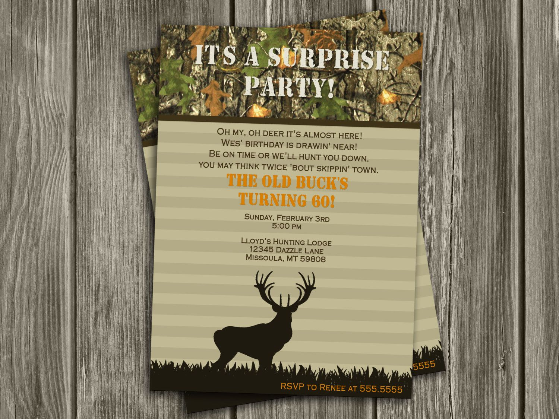 Hunting Surprise Birthday Invitation Free Thank You Card Included 15 Hunting Birthday Invitations Surprise Birthday Party Invitations Birthday Invitations